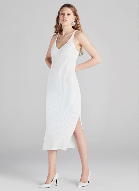 8b39b4083420c Ipekyol Kadın Askılı Yırtmaçlı Triko Elbise Ekru | Morhipo | 20741851